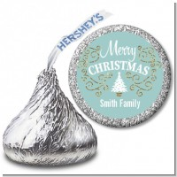 Christmas Tree with Glitter Scrolls - Hershey Kiss Christmas Sticker Labels