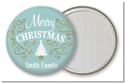 Christmas Tree with Glitter Scrolls - Personalized Christmas Pocket Mirror Favors