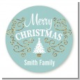 Christmas Tree with Glitter Scrolls - Round Personalized Christmas Sticker Labels thumbnail