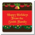 Christmas Wreath and Bells - Square Personalized Christmas Sticker Labels thumbnail
