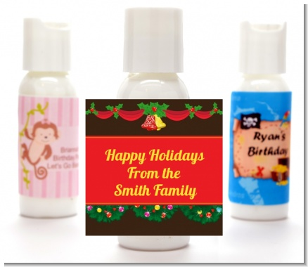 Christmas Wreath and Bells - Personalized Christmas Lotion Favors