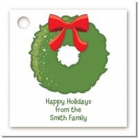 Christmas Wreath - Personalized Christmas Card Stock Favor Tags