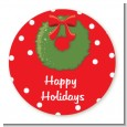Christmas Wreath - Round Personalized Christmas Sticker Labels thumbnail