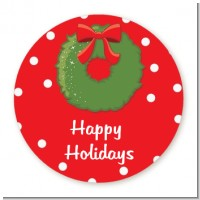 Christmas Wreath - Round Personalized Christmas Sticker Labels