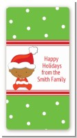 Christmas Baby African American - Custom Rectangle Baby Shower Sticker/Labels