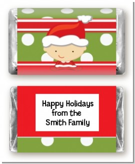 Christmas Baby Caucasian - Personalized Baby Shower Mini Candy Bar Wrappers