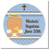 Angel Baby Boy Hispanic - Round Personalized Baptism / Christening Sticker Labels