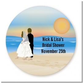 Beach Couple - Round Personalized Bridal | Wedding Sticker Labels