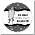 Champagne Glasses - Round Personalized Bridal Shower Sticker Labels thumbnail