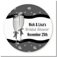 Champagne Glasses - Round Personalized Bridal Shower Sticker Labels