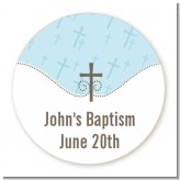 Cross Blue - Round Personalized Baptism / Christening Sticker Labels
