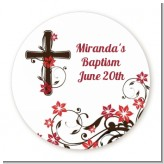 Cross Floral Blossom - Round Personalized Baptism / Christening Sticker Labels