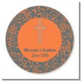 Cross Grey & Orange - Round Personalized Baptism / Christening Sticker Labels thumbnail