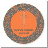 Cross Grey & Orange - Round Personalized Baptism / Christening Sticker Labels