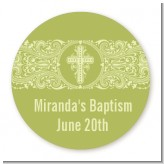 Cross Sage Green - Round Personalized Baptism / Christening Sticker Labels
