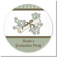 Graduation Diploma - Round Personalized Graduation Party Sticker Labels