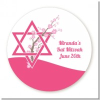 Jewish Star of David Cherry Blossom - Round Personalized Bar / Bat Mitzvah Sticker Labels