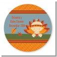 Little Turkey Girl - Round Personalized Baby Shower Sticker Labels thumbnail