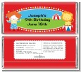 Circus - Personalized Birthday Party Candy Bar Wrappers thumbnail