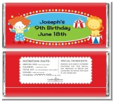 Circus - Personalized Birthday Party Candy Bar Wrappers