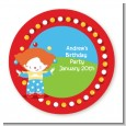 Circus Clown - Round Personalized Birthday Party Sticker Labels thumbnail