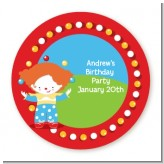 Circus Clown - Round Personalized Birthday Party Sticker Labels