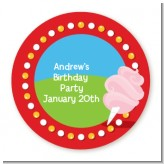 Circus Cotton Candy - Round Personalized Birthday Party Sticker Labels