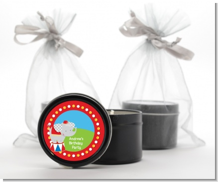 Circus Elephant - Birthday Party Black Candle Tin Favors