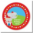 Circus Elephant - Round Personalized Birthday Party Sticker Labels thumbnail