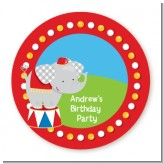 Circus Elephant - Round Personalized Birthday Party Sticker Labels