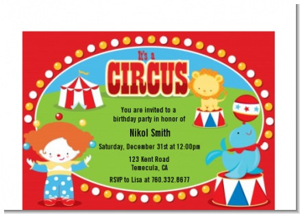 Circus - Birthday Party Petite Invitations