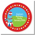 Circus Seal - Round Personalized Birthday Party Sticker Labels thumbnail