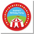 Circus Tent - Round Personalized Birthday Party Sticker Labels thumbnail