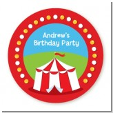 Circus Tent - Round Personalized Birthday Party Sticker Labels