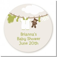 Clothesline It's A Baby - Round Personalized Baby Shower Sticker Labels