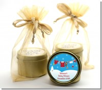 Clothesline Christmas - Baby Shower Gold Tin Candle Favors