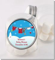 Clothesline Christmas - Personalized Baby Shower Candy Jar