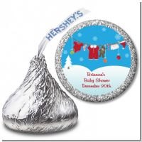 Clothesline Christmas - Hershey Kiss Baby Shower Sticker Labels