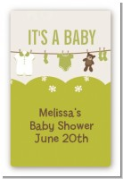 Clothesline It's A Baby - Custom Large Rectangle Baby Shower Sticker/Labels