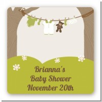 Clothesline It's A Baby - Square Personalized Baby Shower Sticker Labels
