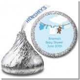 Clothesline It's A Boy - Hershey Kiss Baby Shower Sticker Labels