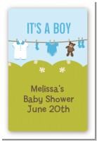 Clothesline It's A Boy - Custom Large Rectangle Baby Shower Sticker/Labels