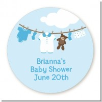 Clothesline It's A Boy - Round Personalized Baby Shower Sticker Labels