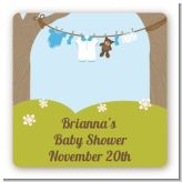 Clothesline It's A Boy - Square Personalized Baby Shower Sticker Labels