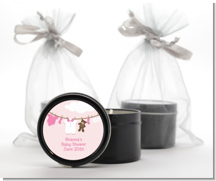Clothesline It's A Girl - Baby Shower Black Candle Tin Favors