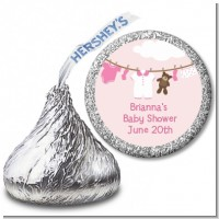 Clothesline It's A Girl - Hershey Kiss Baby Shower Sticker Labels