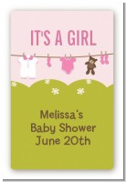 Clothesline It's A Girl - Custom Large Rectangle Baby Shower Sticker/Labels
