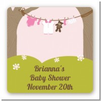 Clothesline It's A Girl - Square Personalized Baby Shower Sticker Labels