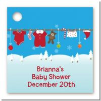 Clothesline Christmas - Personalized Baby Shower Card Stock Favor Tags