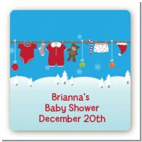Clothesline Christmas - Square Personalized Baby Shower Sticker Labels